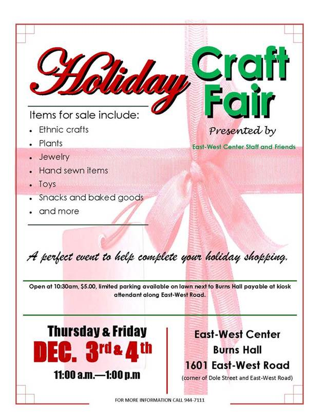 2015 EWC Craft Fair Flyer