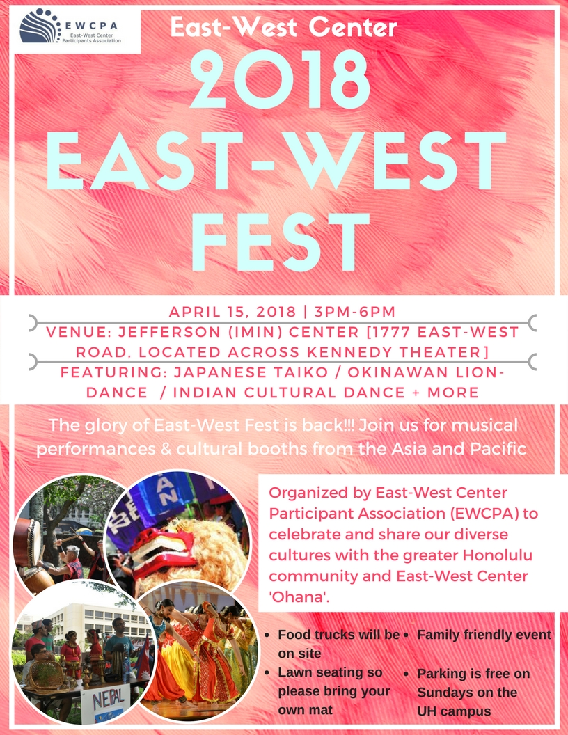 East-West Fest 2018 on Sunday, April 15 from 3pm to 6pm